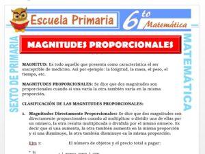 Modelo de la Ficha de Clasificación de Las Magnitudes Proporcionales para Sexto de Primaria