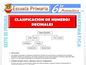 Modelo de la Ficha de Clasificación de Números Decimales para Sexto de Primaria