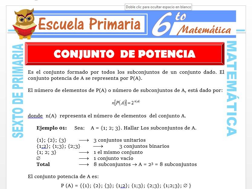 Modelo de la Ficha de Conjunto Potencia para Sexto de Primaria
