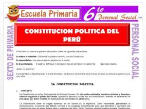 Modelo de la Ficha de Constitución Político del Perú para Sexto de Primaria