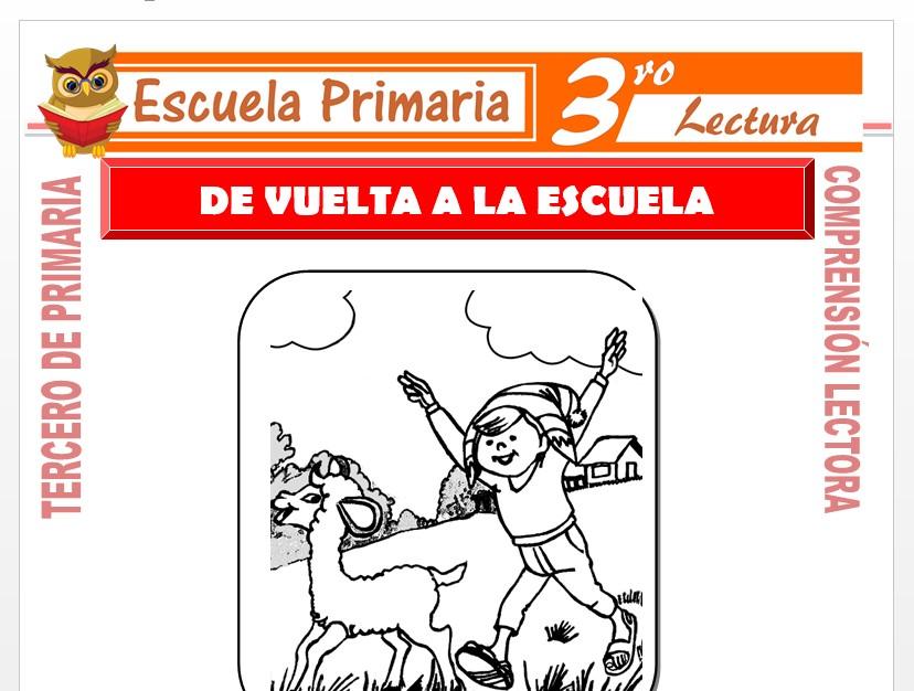 Modelo de la Ficha de, De Vuelta a La Escuela para Tercero de Primaria