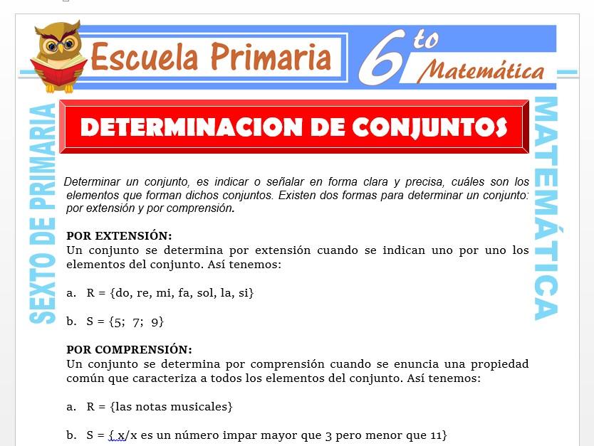 Modelo de la Ficha de Determinación por Extensión y Comprensión de Conjuntos para Sexto de Primaria