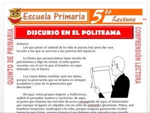 Modelo de la Ficha de Discurso en el Politeama para Quinto de Primaria