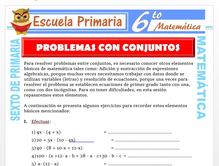 Modelo de la Ficha de Ejemplos de Problemas con Conjuntos para Sexto de Primaria