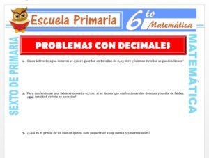 Modelo de la Ficha de Ejemplos de Problemas con Números Decimales para Sexto de Primaria