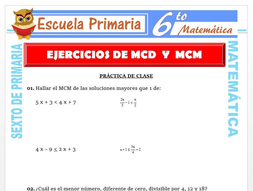 Modelo de la Ficha de Ejercicios de MCD y MCM para Sexto de Primaria