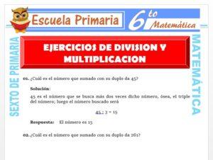 Modelo de la Ficha de Ejercicios de Multiplicación y División para Sexto de Primaria