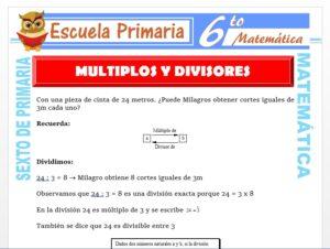 Modelo de la Ficha de Ejercicios de Múltiplos y Divisores para Sexto de Primaria