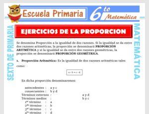 Modelo de la Ficha de Ejercicios de Proporción para Sexto de Primaria