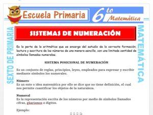Modelo de la Ficha de Ejercicios de Sistema de Numeración para Sexto de Primaria