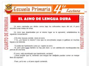 Modelo de la Ficha de El Asno De Lengua Dura para Cuarto de Primaria