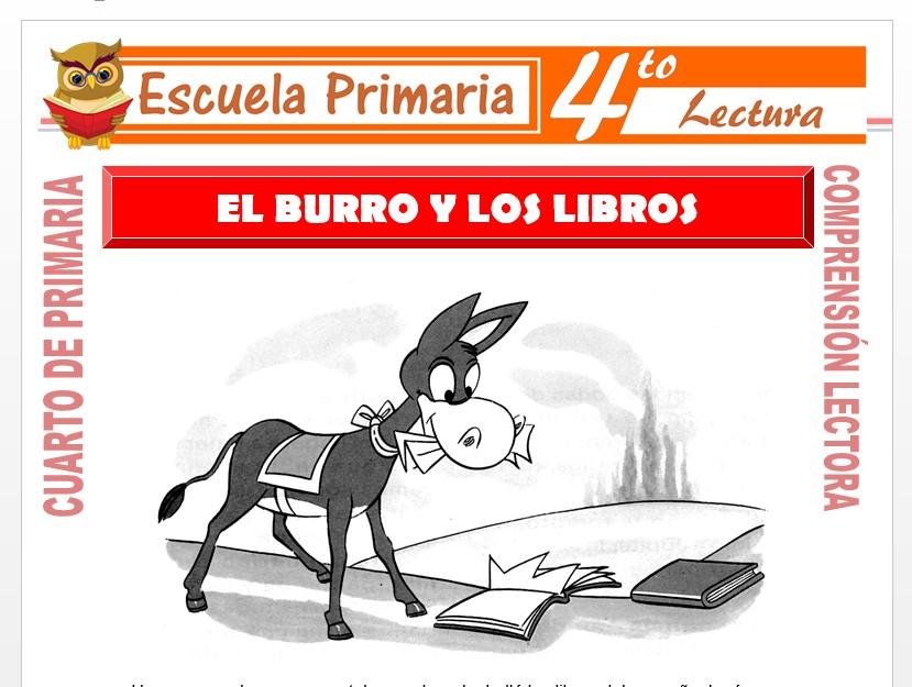 Modelo de la Ficha de El Burro y Los Libros para Cuarto de Primaria