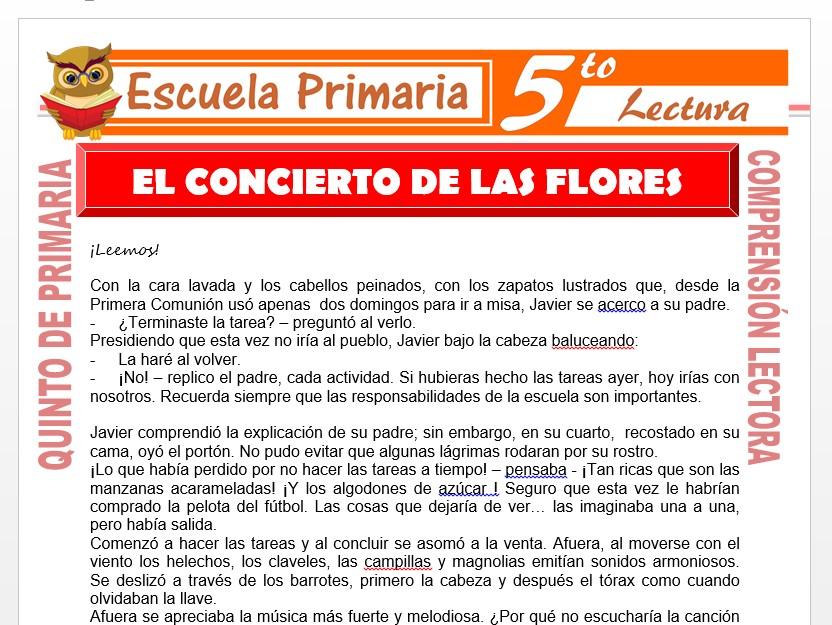 Modelo de la Ficha de El Concierto de Las Flores para Quinto de Primaria