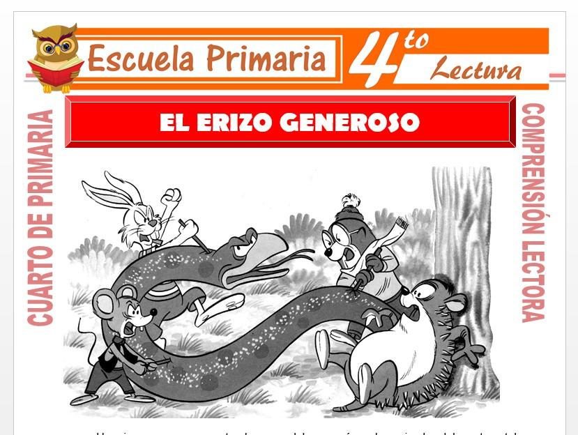 Modelo de la Ficha de El Erizo Generoso para Cuarto de Primaria