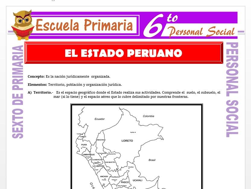 Modelo de la Ficha de El Estado Peruano  para Sexto de Primaria