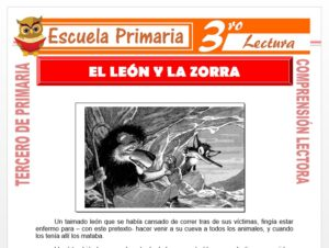Modelo de la Ficha de El León y La Zorra para Tercero de Primaria