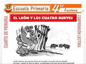Modelo de la Ficha de El León y Los Cuatro Bueyes para Cuarto de Primaria