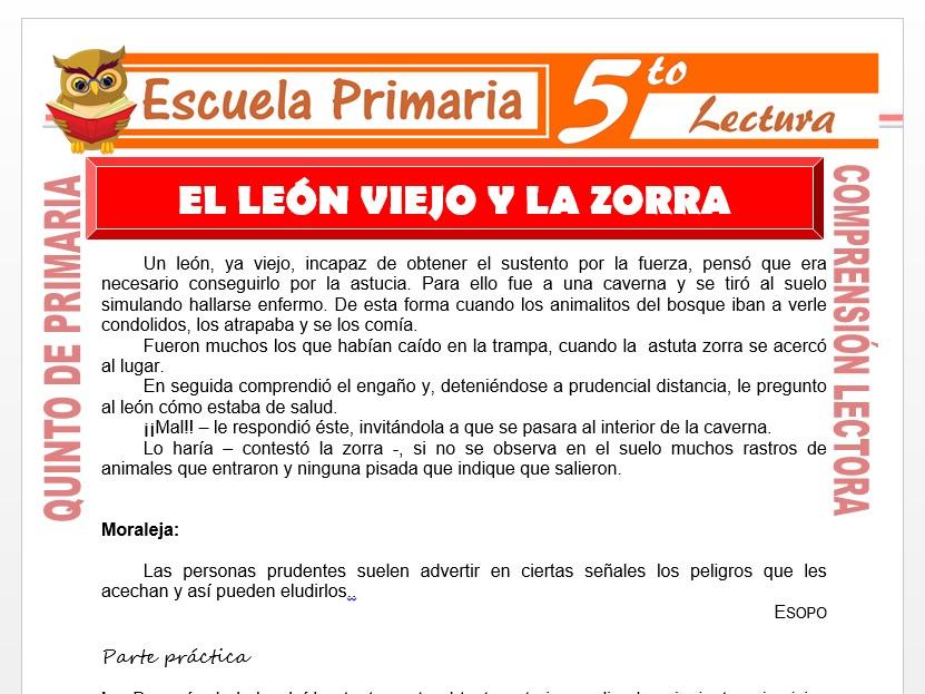 Modelo de la Ficha de El León Viejo y la Zorra para Quinto de Primaria