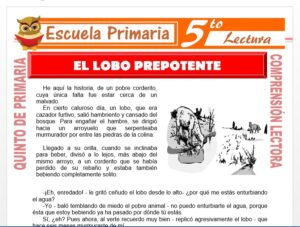 Modelo de la Ficha de El Lobo Prepotente para Quinto de Primaria