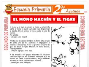 Modelo de la Ficha de El Mono Machín y El Tigre Hacen Una Guerrita para Segundo de Primaria