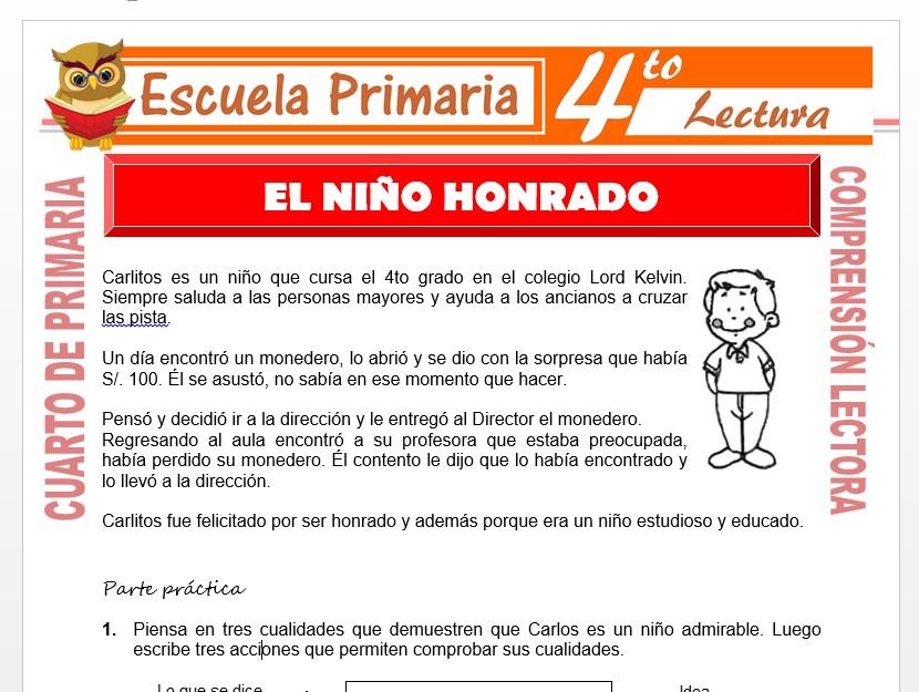 Modelo de la Ficha de El Niño Honrado para Cuarto de Primaria