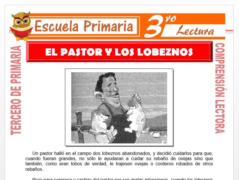 Modelo de la Ficha de El Pastor y los Lobeznos para Tercero de Primaria