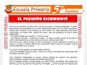 Modelo de la Ficha de El Pequeño Escribiente para Quinto de Primaria