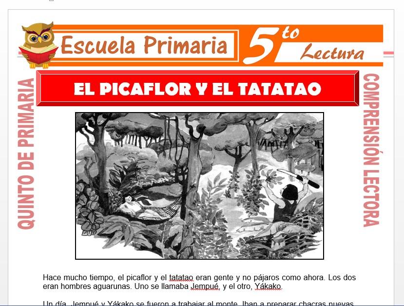 Modelo de la Ficha de El Picaflor y el Tatatao para Quinto de Primaria