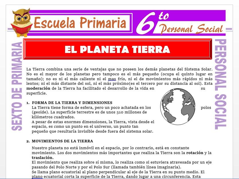 Modelo de la Ficha de El Planeta Tierra para Sexto de Primaria