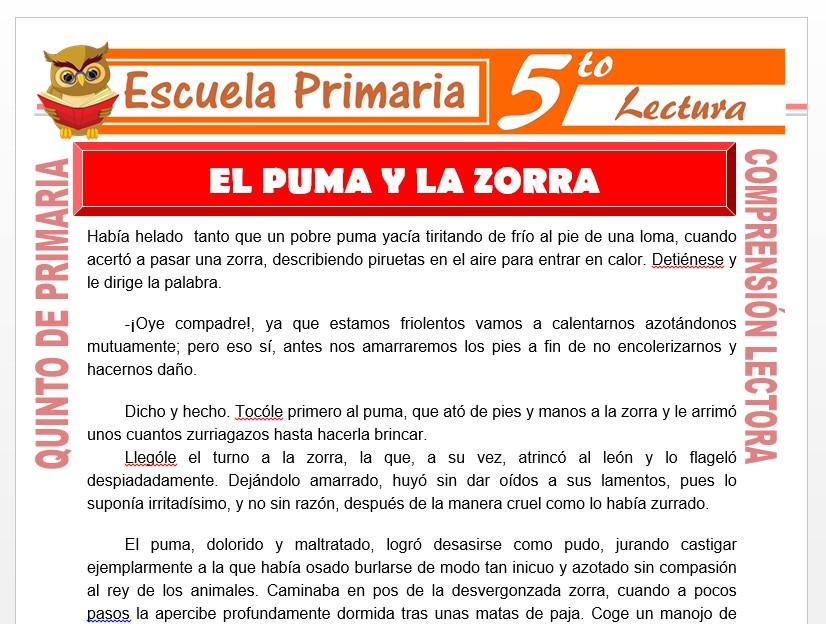 Modelo de la Ficha de El Puma y la Zorra para Quinto de Primaria