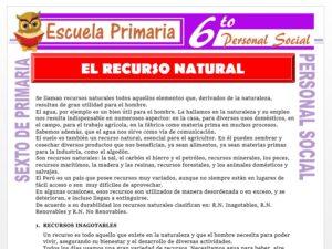Modelo de la Ficha de El Recurso Natural para Sexto de Primaria