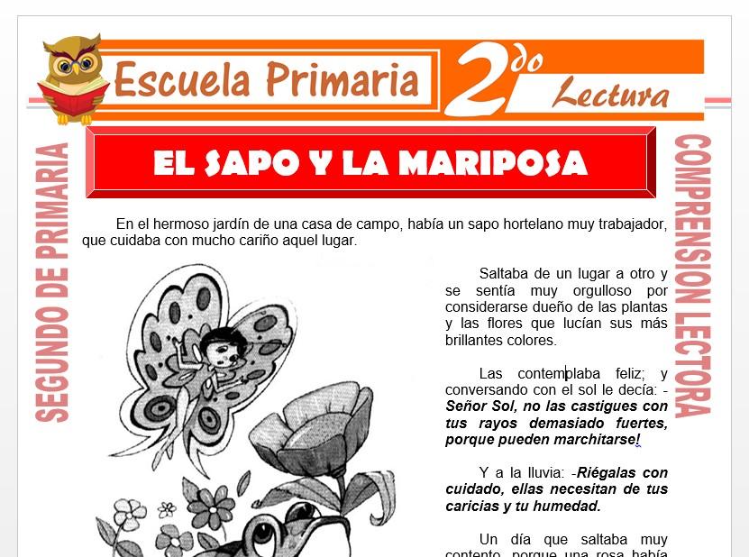 Modelo de la Ficha de El Sapo y la Mariposa para Segundo de Primaria