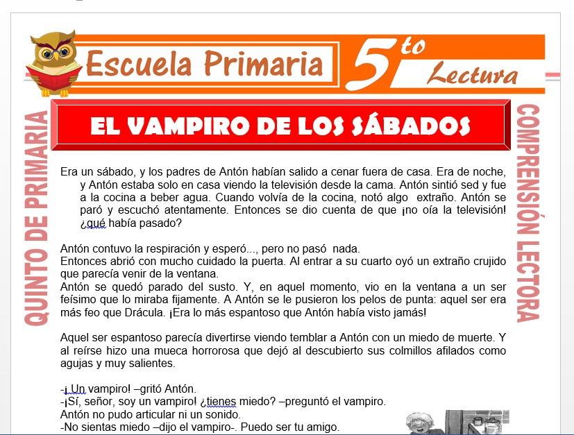 Modelo de la Ficha de El Vampiro de los Sábados para Quinto de Primaria