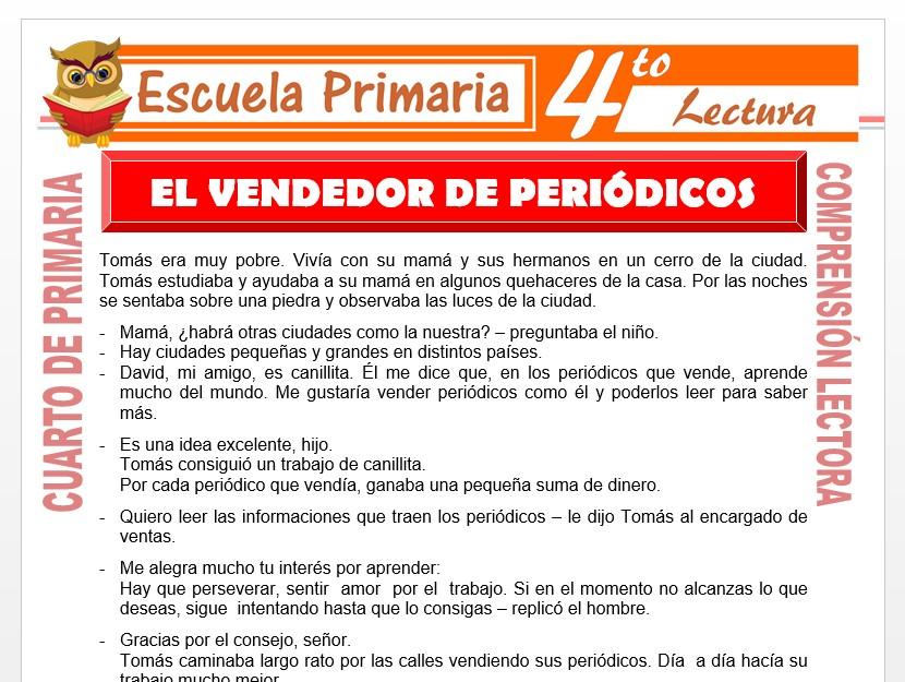 Modelo de la Ficha de El Vendedor de Periódicos para Cuarto de Primaria