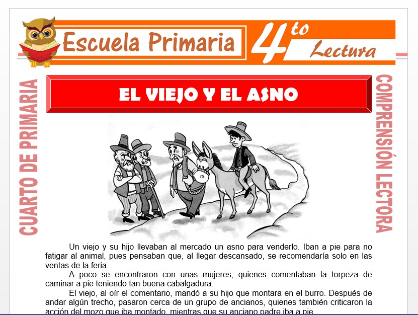 Modelo de la Ficha de El Viejo y El Asno para Cuarto de Primaria