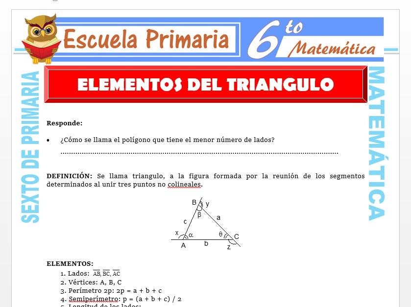 Modelo de la Ficha de Elementos del Triángulo para Sexto de Primaria
