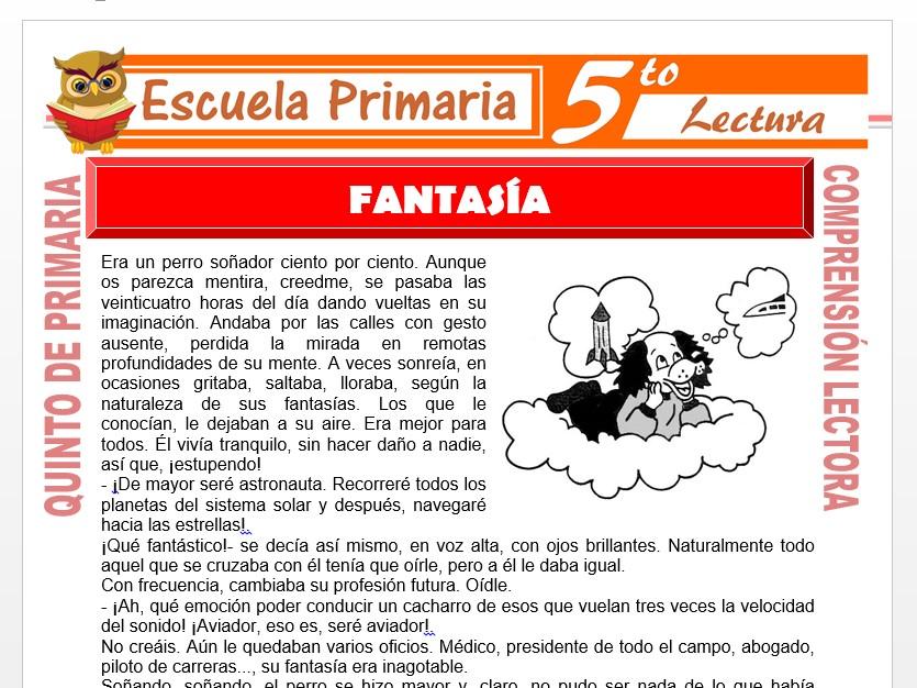 Modelo de la Ficha de Fantasía para Quinto de Primaria