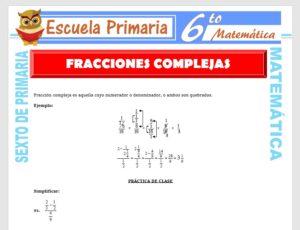 Modelo de la Ficha de Fracciones Complejas para Sexto de Primaria