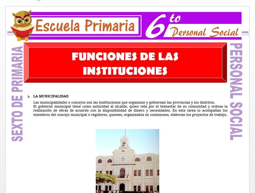 Modelo de la Ficha de Funciones de las Instituciones    para Sexto de Primaria