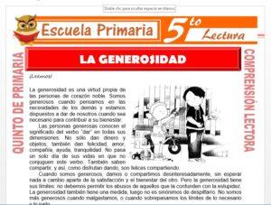 Modelo de la Ficha de Generosidad para Quinto de Primaria