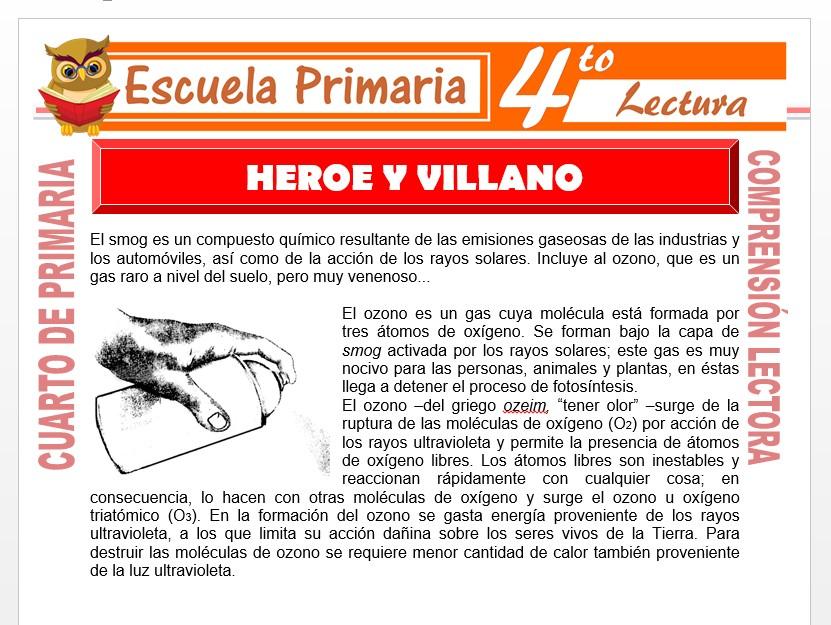 Modelo de la Ficha de Héroe y Villano para Cuarto de Primaria