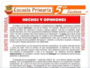 Modelo de la Ficha de Hechos y Opiniones para Quinto de Primaria