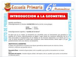 Modelo de la Ficha de Introducción a la Geometría para Sexto de Primaria