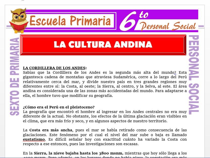 Modelo de la Ficha de La Cultura Andina    para Sexto de Primaria