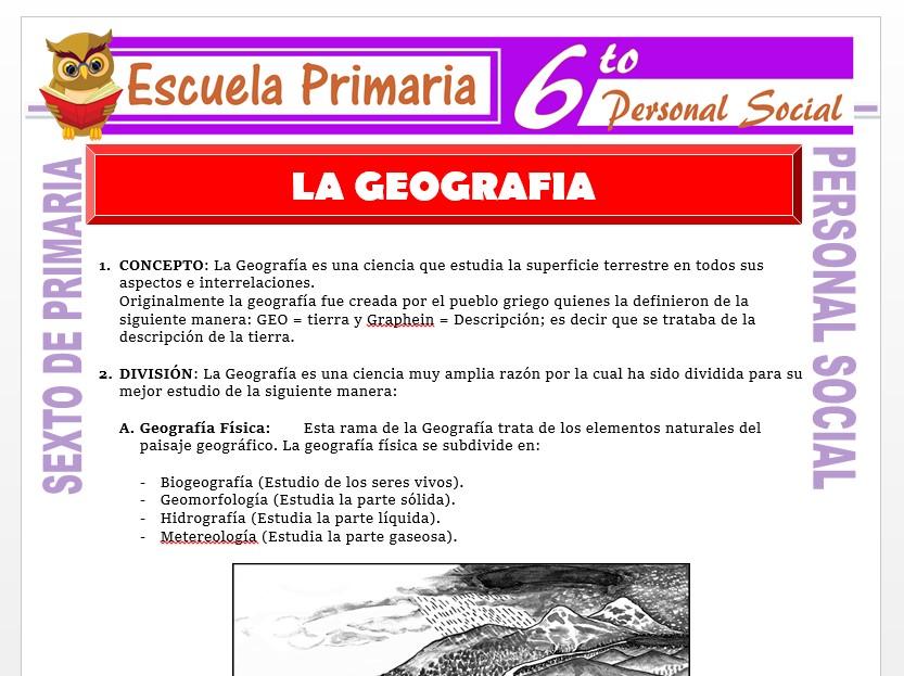 Modelo de la Ficha de La Geografía para Sexto de Primaria