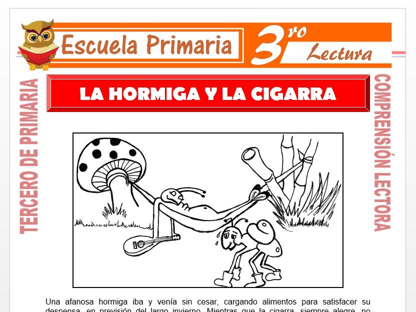 Modelo de la Ficha de La Hormiga y La Cigarra para Tercero de Primaria