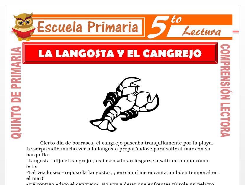 Modelo de la Ficha de La Langosta y el Cangrejo para Quinto de Primaria