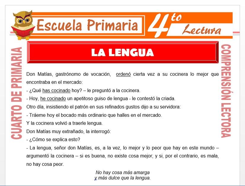 Modelo de la Ficha de La Lengua para Cuarto de Primaria