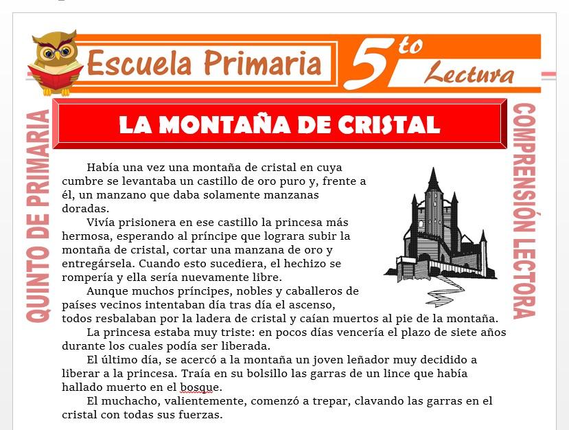 Modelo de la Ficha de La Montaña de Cristal para Quinto de Primaria