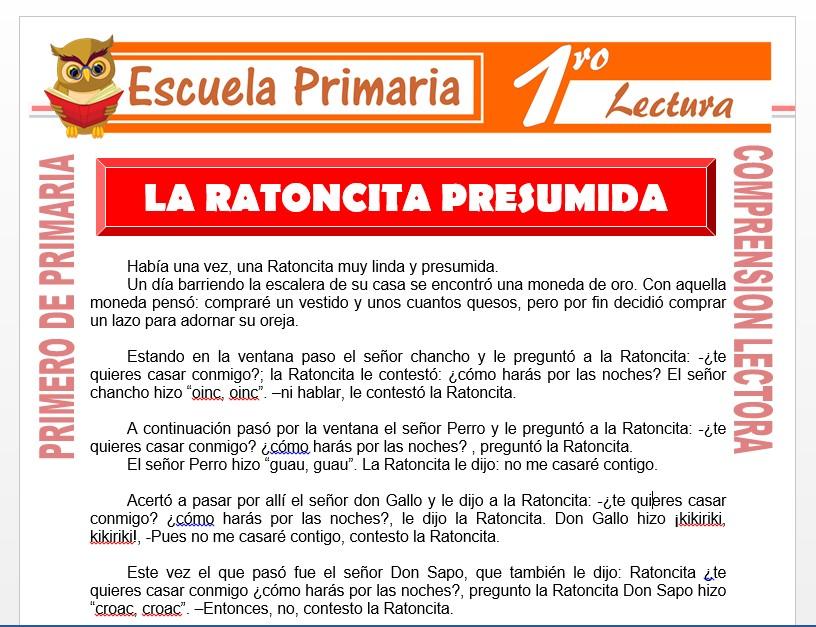 Modelo de la Ficha de La Ratoncita Presumida para Primero de Primaria